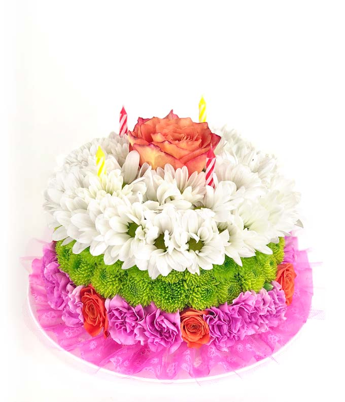 Happiest Birthday Flower Cake Available For Delivery