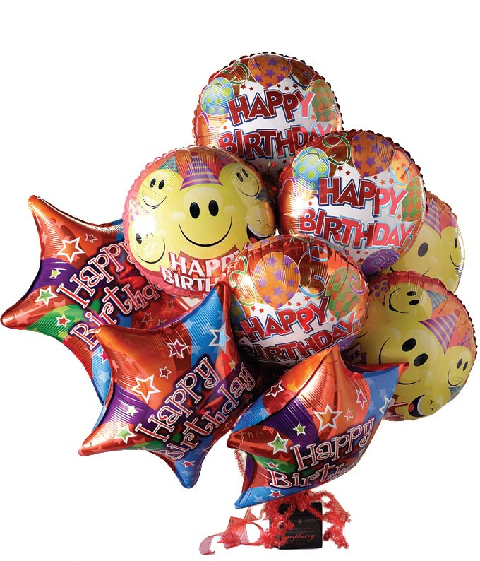 Birthday balloon bouquet with chocolates