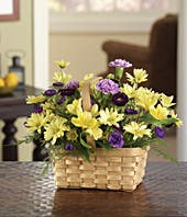 Purple asters, yellow alstroemeria and daisies in a woven basket