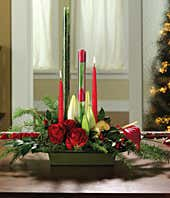 Christmas floral centerpiece with candles