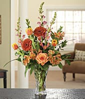 Orange and yellow tulips with snapdragons