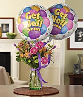 Get Well Spring Bouquet with Balloons