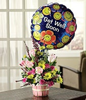 Basket of Well Wishes with Get Well Balloon