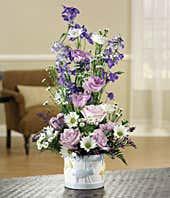 Lavender roses, blue delphinium and monte casino delivered