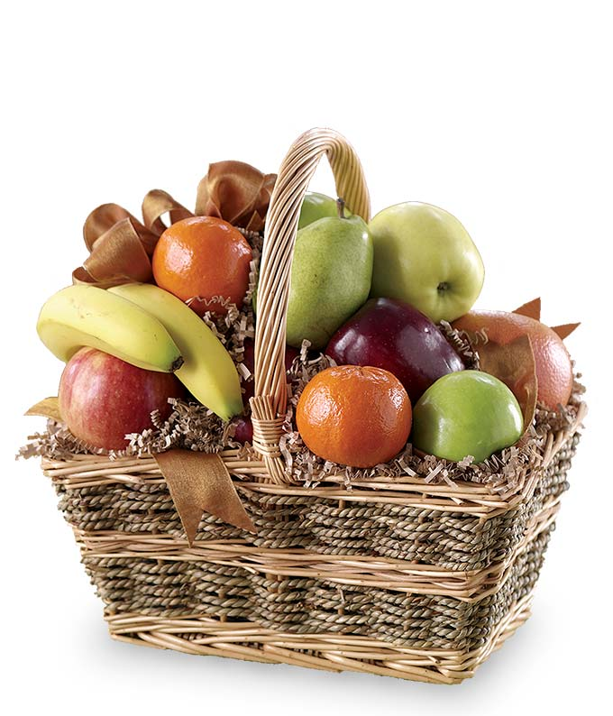 Fruit delivered in handled basket