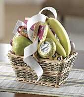 Gourmet same day baskets with applies, pears and cheeses