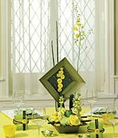 Green and yellow flower centerpiece