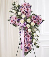 White & Lavender Mixed Standing Cross