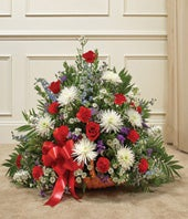 Red, White & Blue Floral Fireside Basket