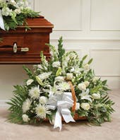 White Mixed Fireside Basket with roses and lilies