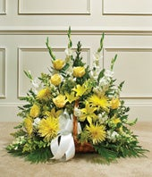 Yellow & White Mixed Fireside Basket with roses and asiatic lilies