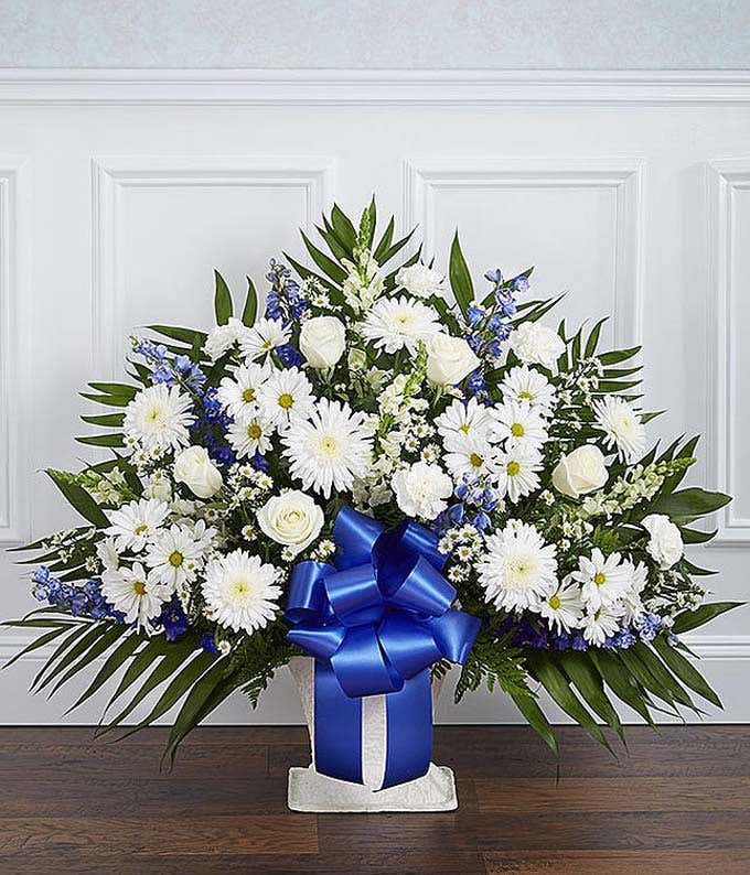 White and blue flower sympathy basket