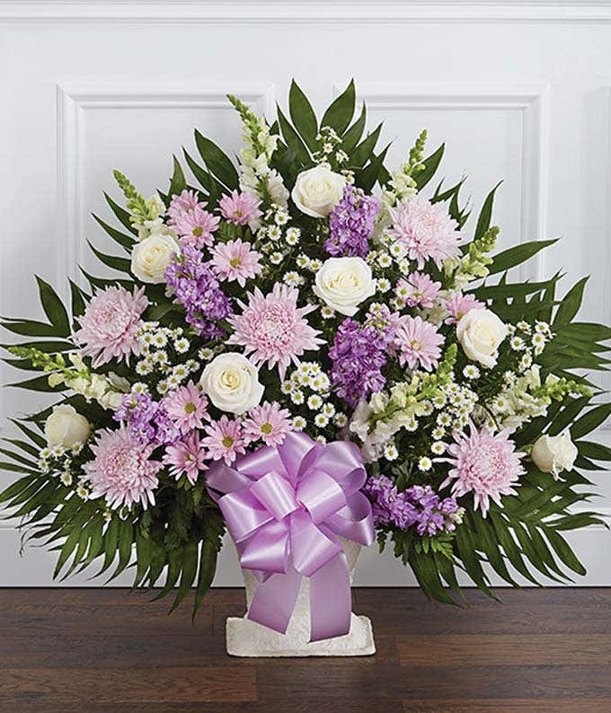 Purple and white flower sympathy basket