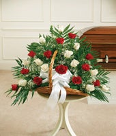 Red & White Rose Fireside Basket