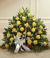 Yellow & White Rose Fireside Basket
