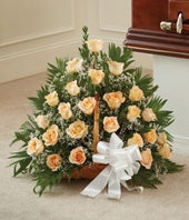 Peach, Orange & White Rose Fireside Basket