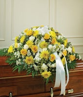 Half casket flower cover with Yellow roses and daises with white carnations