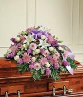 Lavender & White Floral Mixed Half Casket Cover