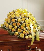 Yellow & White Rose Half Casket Cover