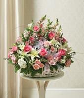 Pink & White Flower Sympathy Basket