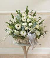 White Floral Sympathy Arrangement In Basket