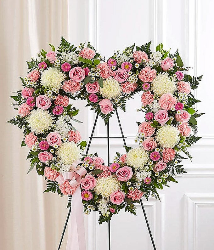 Pink & White Standing Open Heart