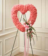 Pink Funeral Heart Wreath for Women