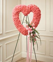 Pink Funeral Heart Wreath for Women