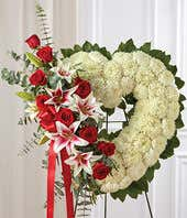 Red & White Flower Mixed Standing Open Heart