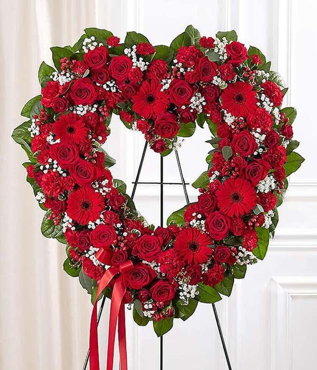 Red Mixed Standing Open Heart
