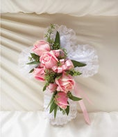 1-800-Flowers� Pink Satin Cross Pillow