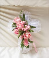 1-800-Flowers® Pink Satin Cross Pillow
