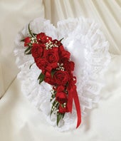 White & Red Floral Satin Heart Casket Pillow