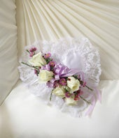 Lavender Satin Heart Casket Pillow