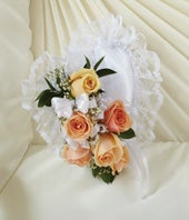 Peach & White Flower Satin Heart Casket Pillow