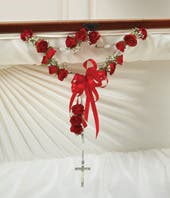 Small Rosary With Red Spray Roses