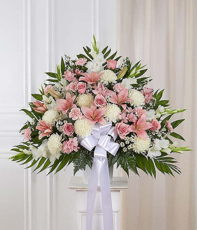 Pink & white sympathy standing basket with roses and lilies