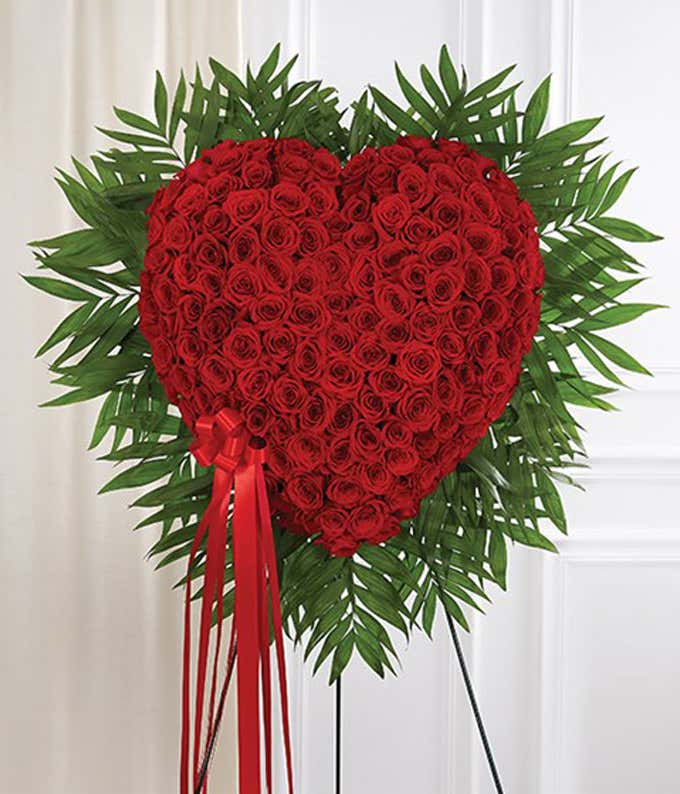 Red rose heart-shaped standing spray