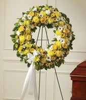 Yellow flower sympathy wreath