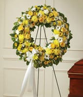 Yellow & White Flower Standing Wreath