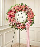Pink Flower Sympathy Wreath