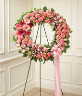 Pink Flower Sympathy Wreath