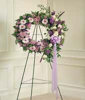 Purple flower sympathy wreath