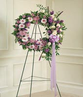 Purple flower sympathy wreath