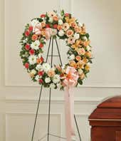 Peach and white wreath standing spray