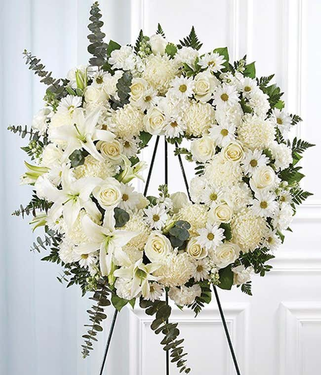White Flower Standing Wreath for funeral