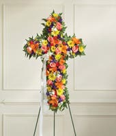 Multicolor Mixed Flower Standing Cross