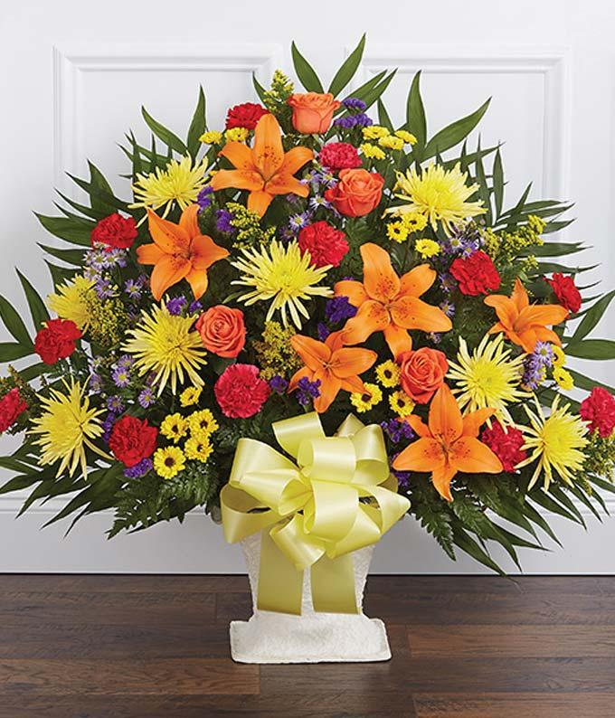 Mixed Flower Sympathy Floor Basket