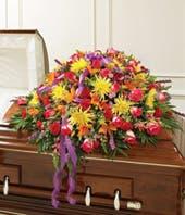Multicolor Bright Mixed Flower Half Casket Cover