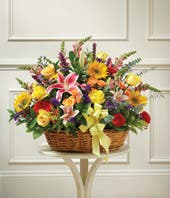 Mixed flower sympathy basket